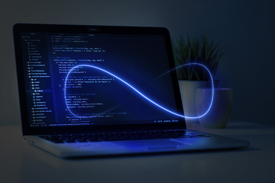 Infinity Symbol in front of a laptop